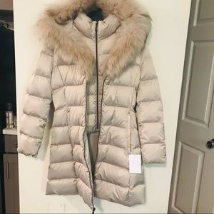 Elie Tahari Hooded Real Fur-Trim Down Puffer Coat